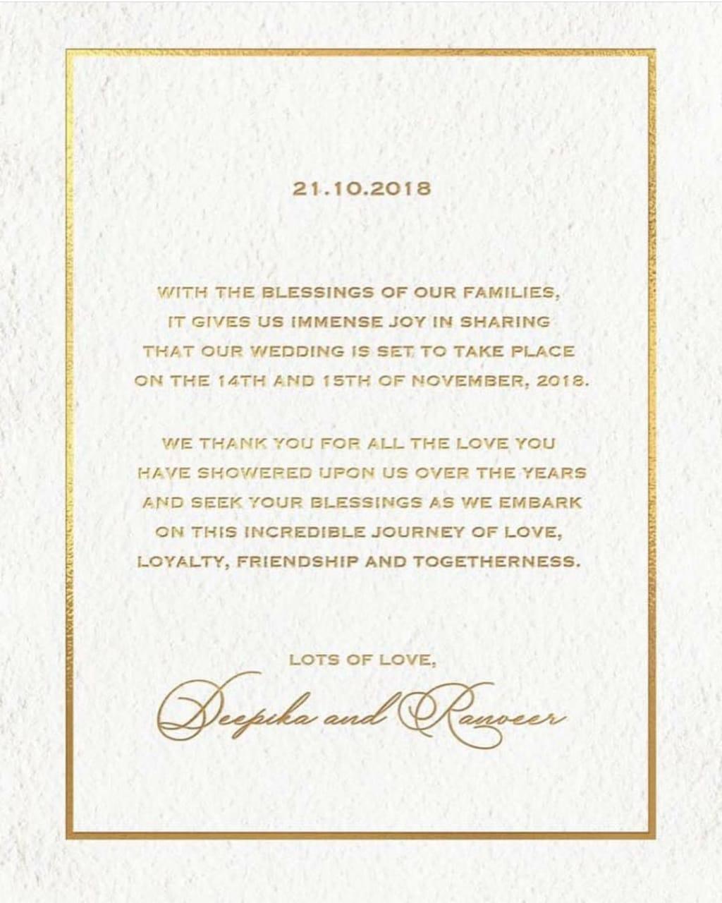 Deepika Ranveer Invitation Card Vishesh Baat News